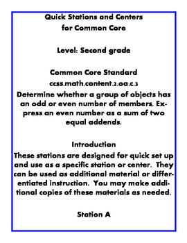 Quick Centers and Stations Second Grade Math Even or Odd G