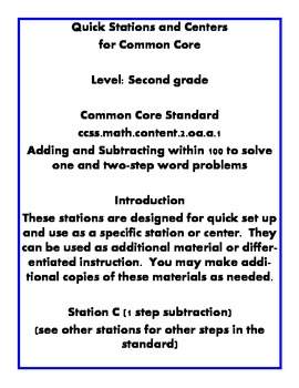 Quick Centers and Stations Second Grade Math word problem