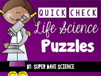 21 Quick Check Life Science Vocabulary Puzzles Formative A
