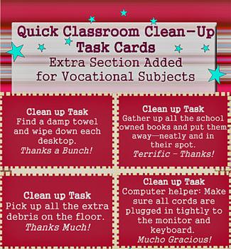 Classroom Clean-Up Task Cards > Bonus Vocational Cards + S