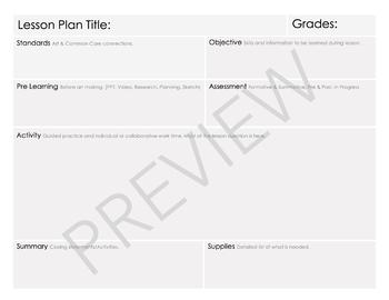 Quick & Easy Lesson Plan Template for Specialists & Teachers