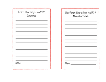 Quick Independent Reading Exit tickets