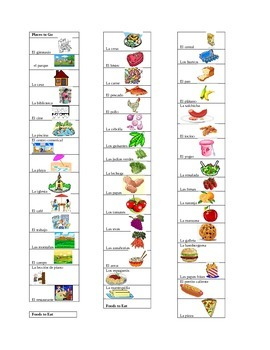 Quick Look Cards for Food Vocabulary and Places to Go Vocabulary