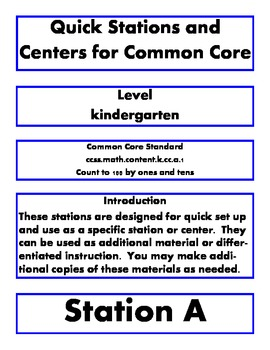 Quick Math Stations and Centers Kindergarten common core k.cc.a.1