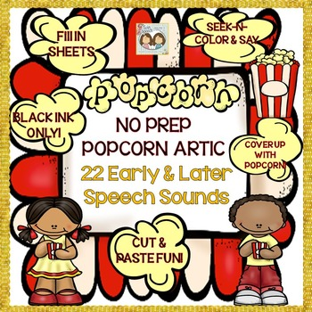 Speech Therapy: NO PREP Popcorn Articulation: 22 Early & L