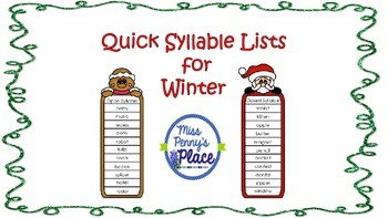 Quick Syllable List for Winter