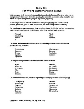 Quick Tips for Literary Analysis Essay (writing about lite