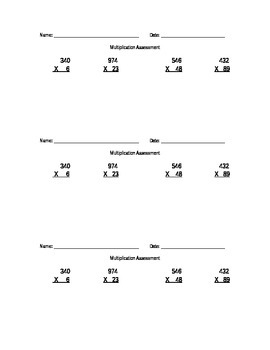Quick Two-Digit Multiplication Assessment
