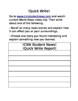 Quick Write CNN Student News