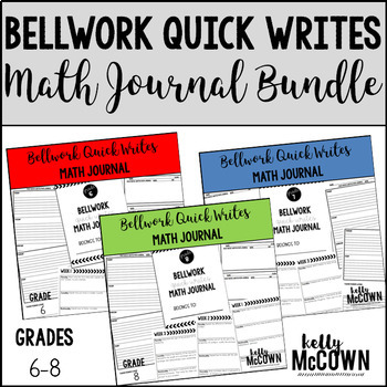 Quick Writes Math Journal BUNDLE {Grades 6 to 8}
