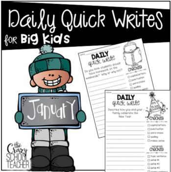 January Quick Writes for BIG KIDS