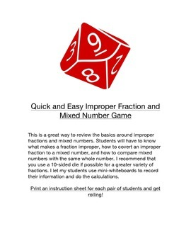 Quick and Easy Improper Fraction and Mixed Number Game