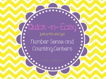 Quick and Easy Number Sense and Counting Math Centers