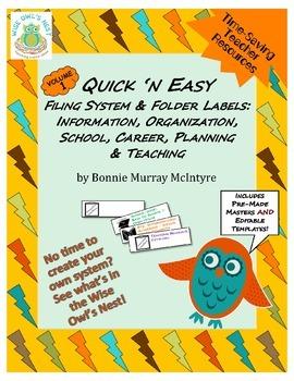 Quick n Easy Vol 1 - Filing System, Folder Labels - Time S