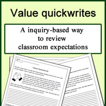 Quickwrite prompts for teaching class values, procedures,