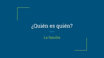Quien es quien? Family Spanish Vocabulary Guessing PPT