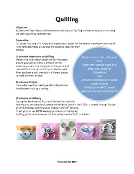 Quilling Lesson Plan