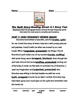 Quilt Story Common Core Story Test