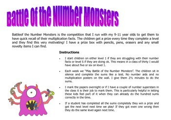 "Quiz! ""Battle of the Number Monsters"" - Quick recall of mu"