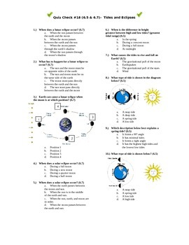Quiz Check #18(6.5 & 6.7)- Tides and Eclipses