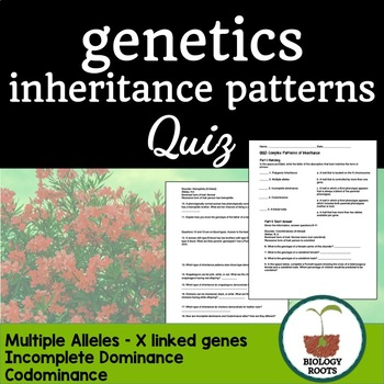 Genetics- Quiz Complex Patterns of Inheritance (non-Mendelian)