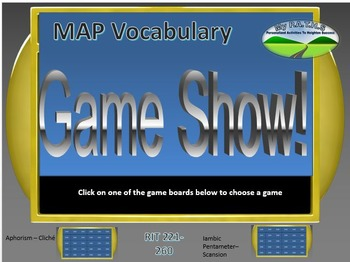 MAP TEST READING VOCABULARY GAME - Jeopardy (RIT BANDS 221-260)