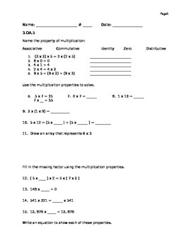 Quiz- Multiplication properties