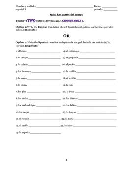 Quiz - Parts of the Body in Spanish (partes del cuerpo)