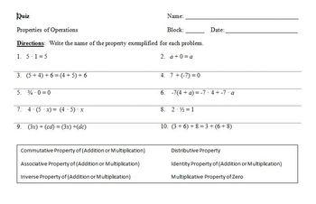 Quiz - Properties of Operations