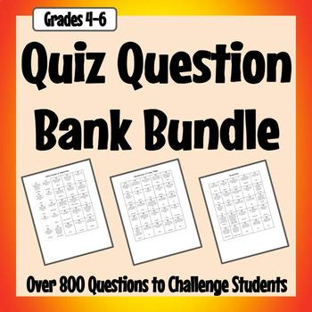 Quiz Question Bank - Math, Science, Social Studies, and Analogies
