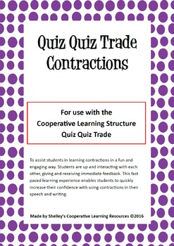 Quiz Quiz Cards- Contractions