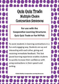 Quiz Quiz Trade Cards - Multiple Choice Contraction Sentences