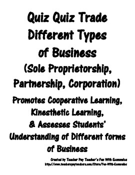 Quiz Quiz Trade Economics Different Forms (Types) of Busin