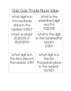 Quiz Quiz Trade Place Value