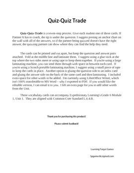 Quiz Quiz Trade Vocabulary Cards for Grade 6, EL Module 1,