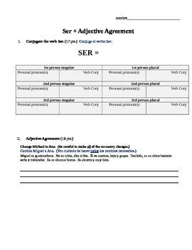 Quiz / Test - Ser plus adjective agreement