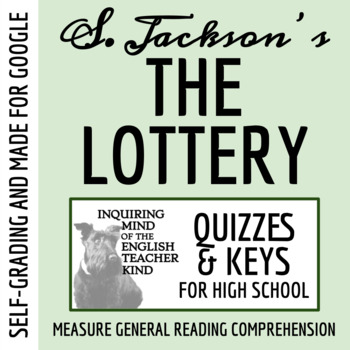 """""""The Lottery"""" by Shirley Jackson - Quiz (Common Core Aligned)"""