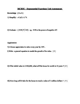 Quiz on Exponential Functions