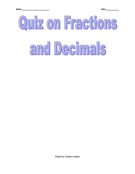 Quiz on Fractions & Decimals