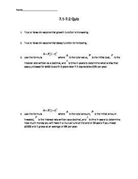 Quiz on evaluating an tranforming exponential functions