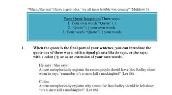 Quotation Integration: MLA by Professor Muldrow | Teachers Pay ...