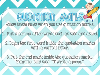 Quotation Marks Explanation Poster - Chevron Themed