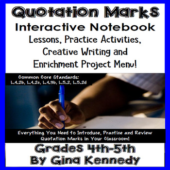 Quotation Marks Interactive Notebook, Lessons, Activities,