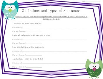 Quotation Marks and Types of Sentences