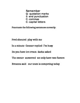 Quotation Marks practice worksheet