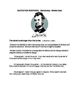Quotation Response - Democracy, Lincoln, Middle East