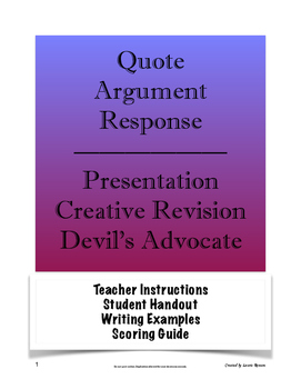 Quote Argument Response; Presentation, Creative Revision,