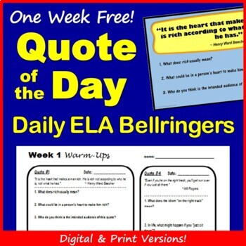 Quote of the Day Bellringer Warm Ups - Free Week!