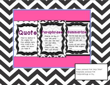 Quote, Paraphrase, Summarize Anchor Charts