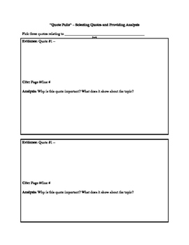 Quote Pulls: Selection and Analysis of Quote Evidence Template